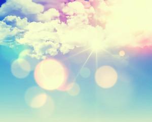 Sunny blue sky with retro effect