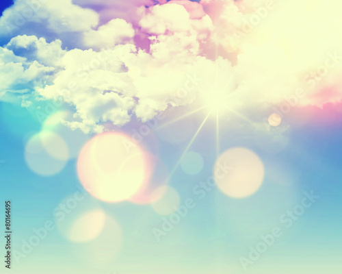 Sunny blue sky with retro effect poster
