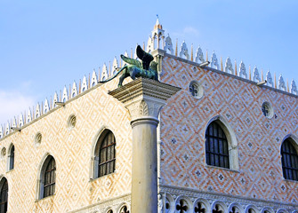 Winged lion and the Doge's Palace, the famous symbols of Venice