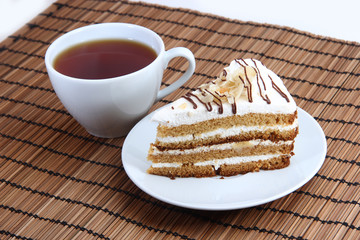 sweet cake with cup of tea