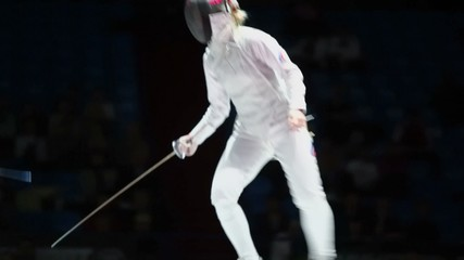 Duel of sportswomen on world championship of fencing
