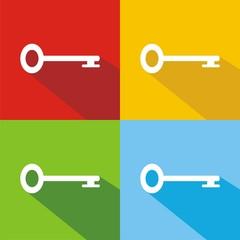 Iconos llave antigua colores sombra