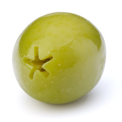 Green olive fruit isolated on white background cutout