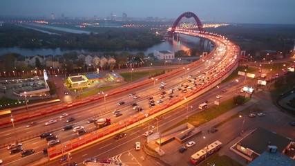 Evening view on Zhivopisny Bridge is cable-stayed bridge