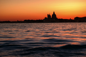 Basilica di Santa Maria della Salute church in sunset in Venice