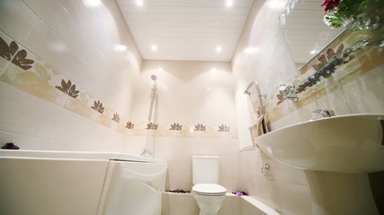 Modern light bathroom with bath, toilet bowl and wash basin