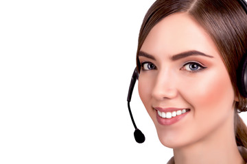 Support phone operator in headset, isolated - Stock Image