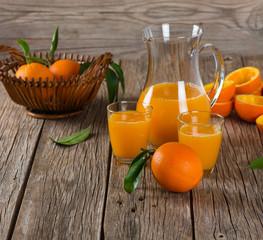 Orange juice and fresh fruits