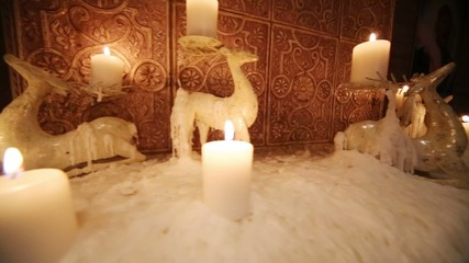 Deer shaped candle holders as decoration at Blackberry Café