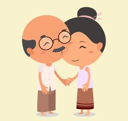 Grandpa kissing Grandma. Elderly couple in love