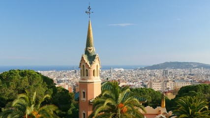Barcelona skyline view from Guell park