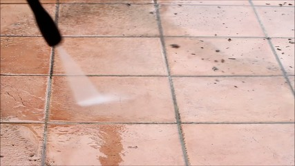 dirty, garden, pressure washer, electric, cleaning stones