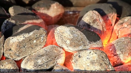glow briquettes, charcoal, ready for barbecue grill