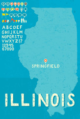 Map of Illinois with icons