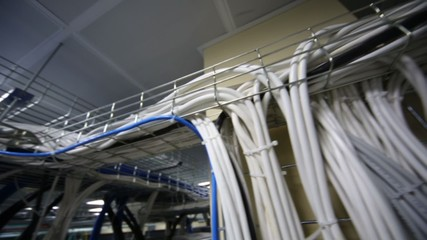 Lot of cables for servers equipment in data center