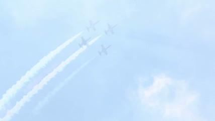 Four L-39 (Rus aerobatic team) in sky on air show
