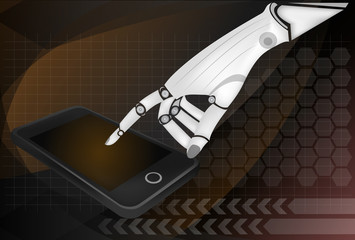 Robotic hands holding a mobile phone with blank screen.