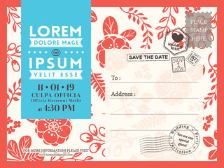 Floral postcard background template for Wedding invitation card