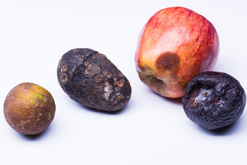 Isolated spoiled fruits