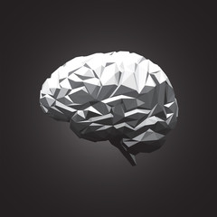 Paper Abstract Human Brain on Dark Background.