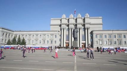 Children dance on square of Kuibyshev near Academic theater