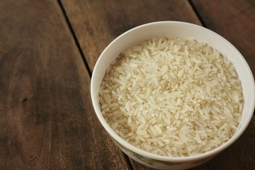 rice in a white bowl on a table