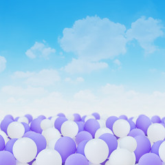 white and purple balloons
