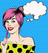 Fashion pop art girl with pen in the hand with speech bubble. - 80178828