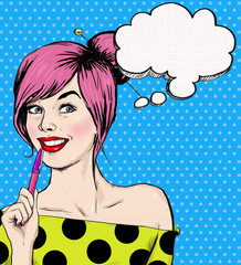 Fashion pop art girl with pen in the hand with speech bubble.