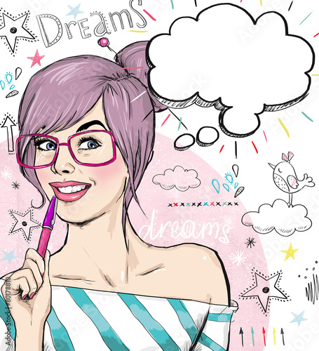 Fashion  girl with pen in the hand with speech bubble - 80178810