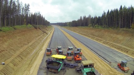 Construction of future two-way highway in forest