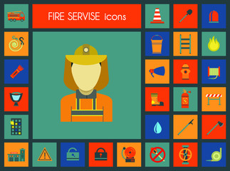 Fire service icons. Fashionable style icons flat.