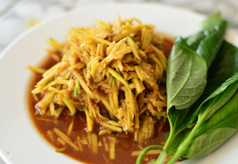 Kerabu mangga, a delicious and famous vegetable appetizer