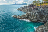 Jungmun Daepo coast with columnar joints at Jeju Island, South K