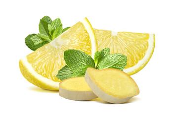 Lemon mint ginger group 2 isolated on white background