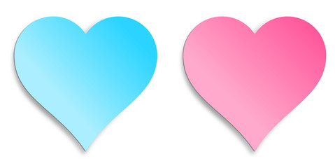 Herzen blau und rosa