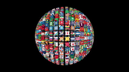 Flags of the World Sphere Rotating, black