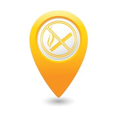 Red map pointer with no smoking sign