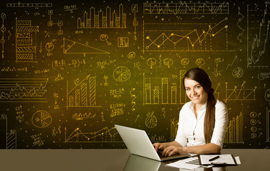 Businesswoman with diagram background