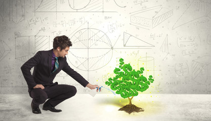 Business man watering a growing green dollar sign tree