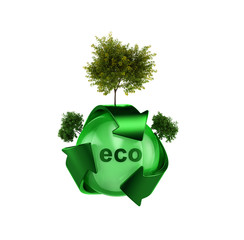 Recycle logo with tree