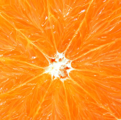 Background of juicy fresh orange. Macro shot