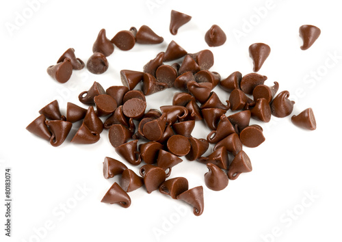 chocolate drops isolated on white - 80183074