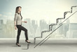 Leinwanddruck Bild - Business woman climbing up on hand drawn staircase concept