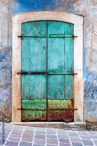 Turquoise grunge door