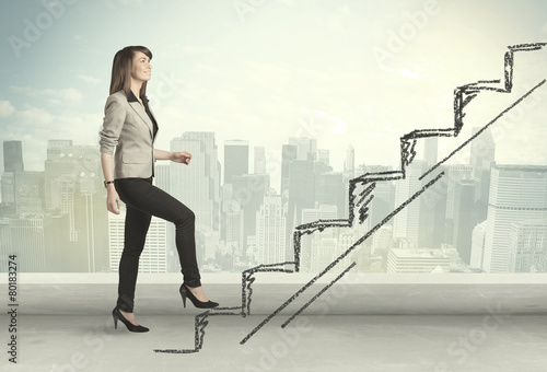 Leinwanddruck Bild Business woman climbing up on hand drawn staircase concept