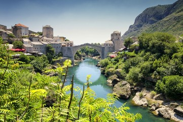 View on Old Bridge in Mostar, Bosnia and Herzegovina