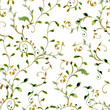 seamless texture with foliate ornament. watercolor painting