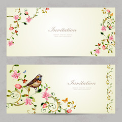 invitation cards with foliate ornament and flowers. watercolor p