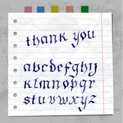 Collection Handwritten ink letters. font on paper